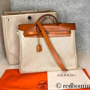 HERMES Natural Toile/Tan Leather Herbag MM 2-in-1